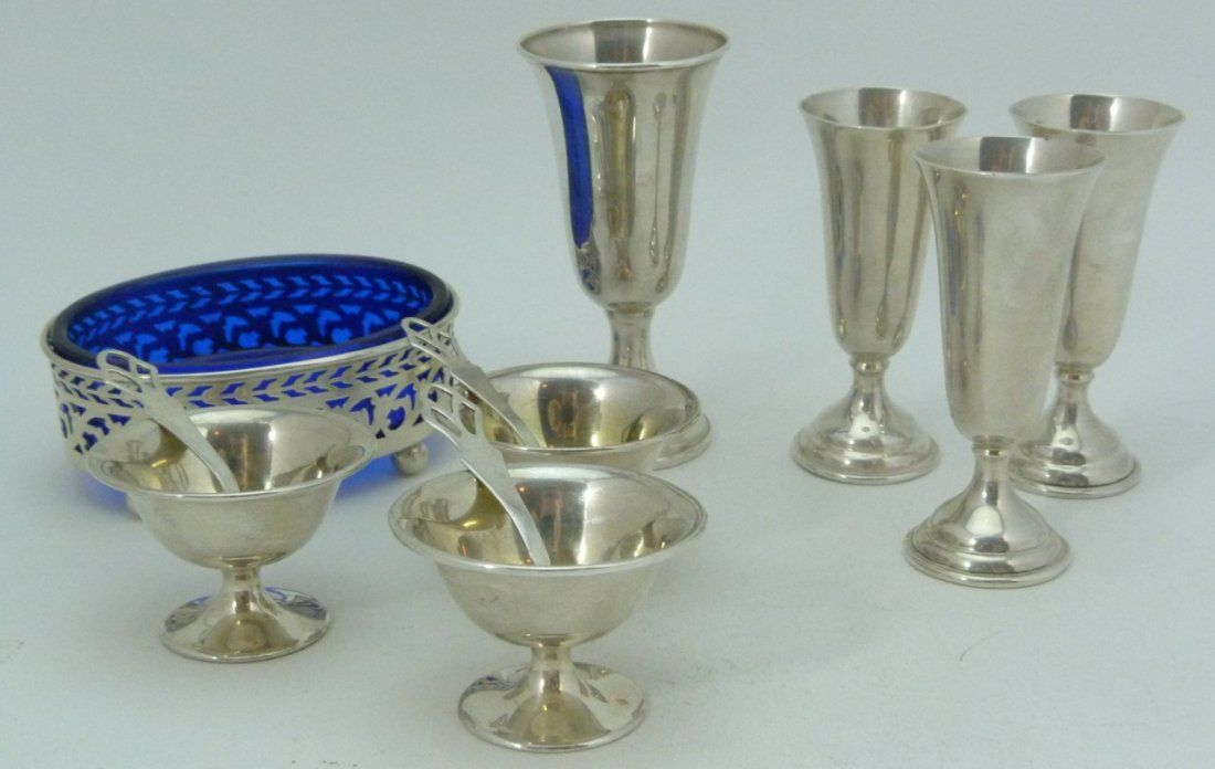 12 PCS MISC STERLING SILVER SALTS & CUPS
