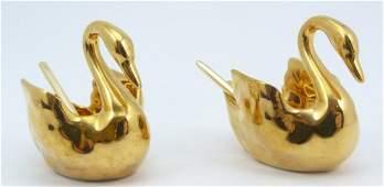SET OF LIMOGES GOLD PORCELAIN SWAN SALTS