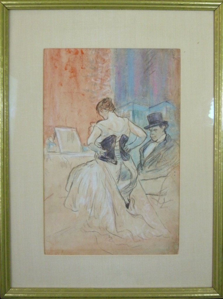 JEAN-LOUIS FORAIN PASTEL ON PAPER WOMAN IN CORSET