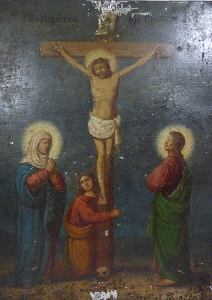"""17TH/18TH CENTURY """"CRUCIFIXION"""" PAINTING ON METAL"""