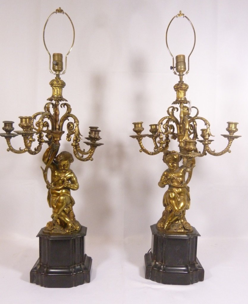 BRONZE PUTTI FIGURAL CANDELABRA LAMPS