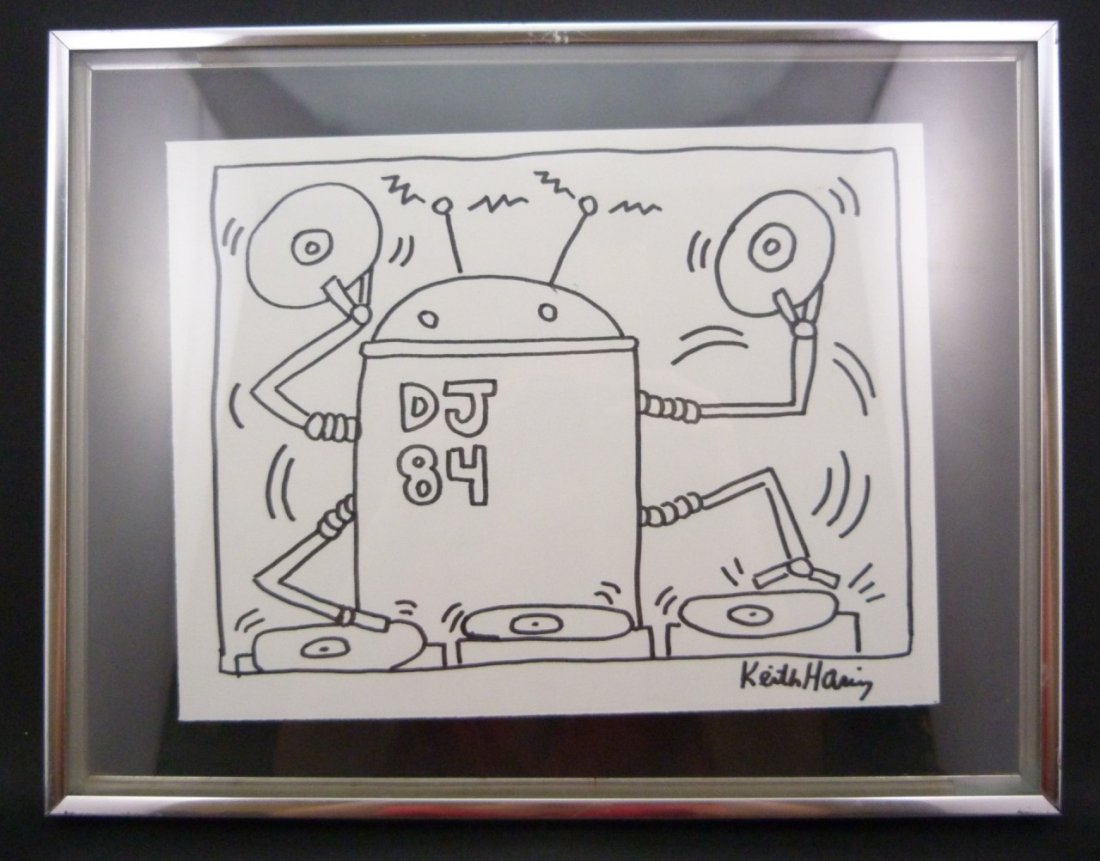 """KEITH HARING """"THE DJ"""" 1984 MARKER/INK ON PAPER"""
