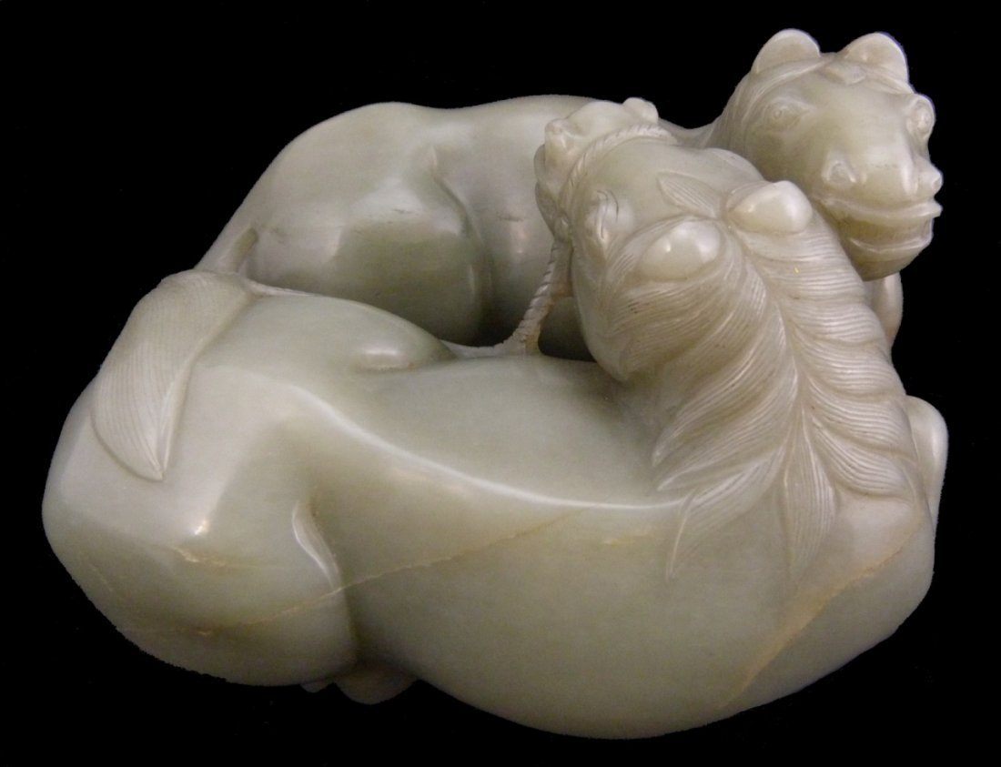 LARGE CHINESE WHITE JADE HORSE GROUP CARVING