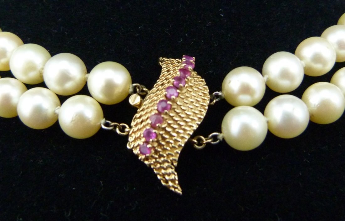 SAPPHIRE 14k BROOCH w DOUBLE STRAND PEARL NECKLACE