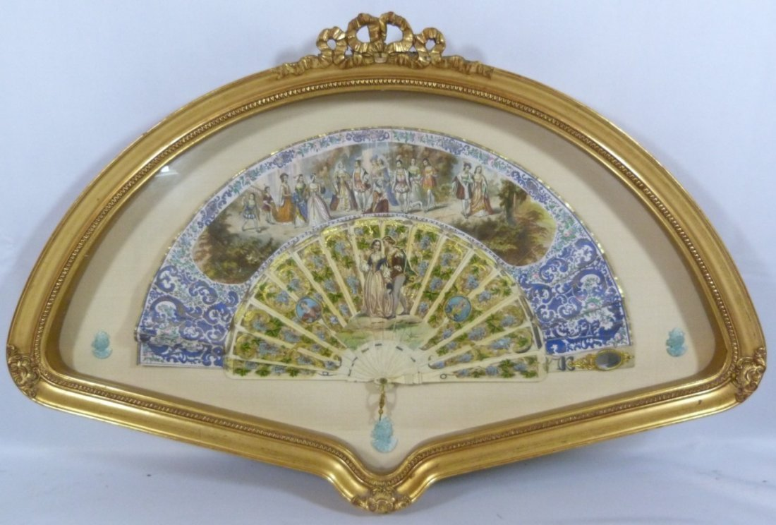 ANTIQUE FRENCH HAND PAINTED ENCASED FAN