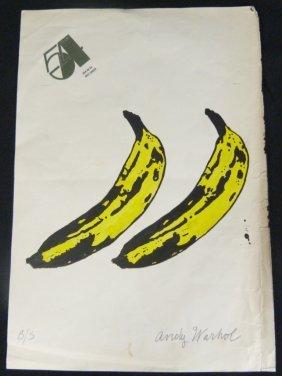 Andy Warhol Hand Painted & Signed Bananas