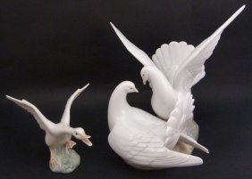 "Lladro #6291 ""love Nest"" & Goose Figures"