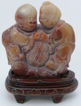Chinese Soapstone Carving Of Children Group