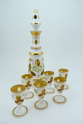 7pc Bohemian Cut To Clear Decanter & Cordials