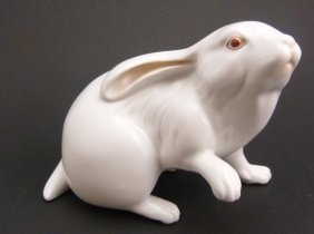 Herend Hungary White Porcelain Rabbit Figure