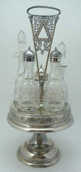 Antique Victorian Silver Plate Condiment Set