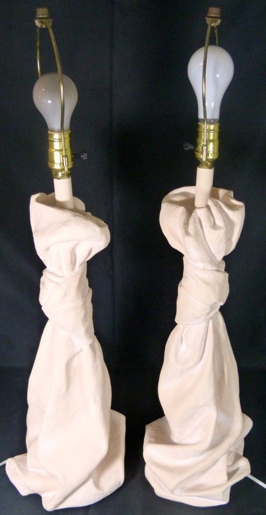 PAIR JOHN DICKINSON MID CENTURY DRAPE LAMPS