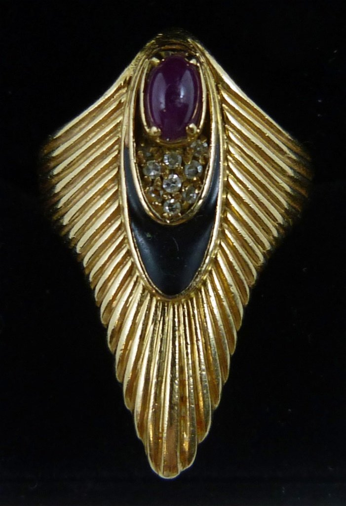 "14K GOLD ""ERTE"" LIMITED ART DECO RING"