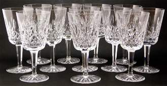 12pc WATERFORD LISMORE CRYSTAL WATER GOBLETS