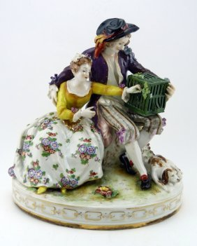 German Antique Fine Porcelain Figural Group