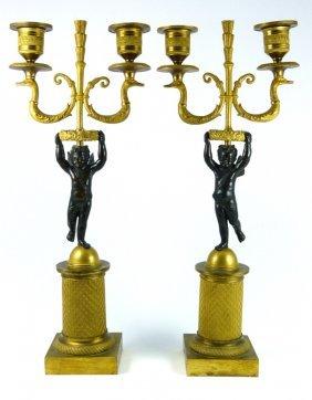 Pair French Ormolu Putti Candelabras
