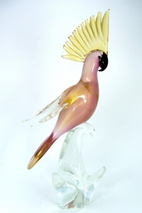 Large Murano Art Glass Cockatoo Sculpture