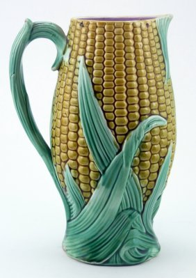 Vintage Majolica Ceramic Corn Shaped Pitcher