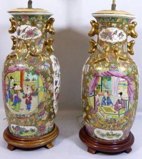Pair 20th Century Rose Medallion Lamps