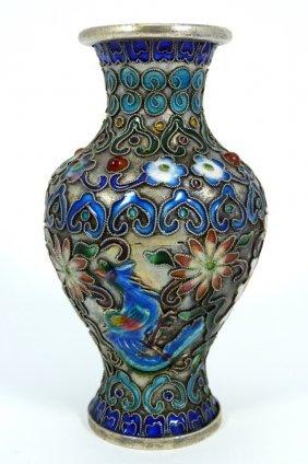 Chinese Silvered Enamel Small Vase