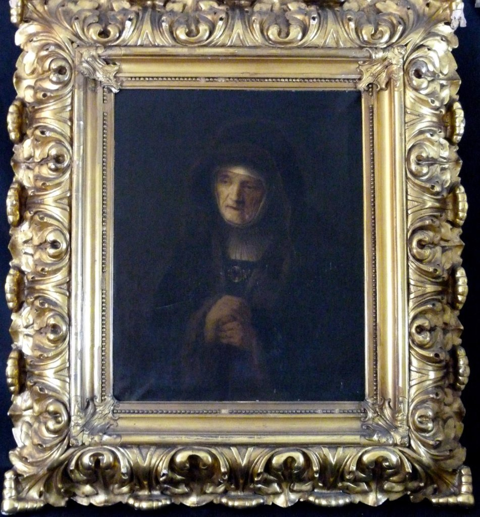 REMBRANDT SCHOOL OIL ON CANVAS PORTRAIT OF MOTHER