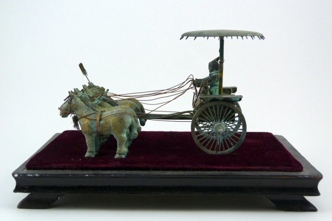 CHINESE BRONZE CHARIOT w DISPLAY CASE