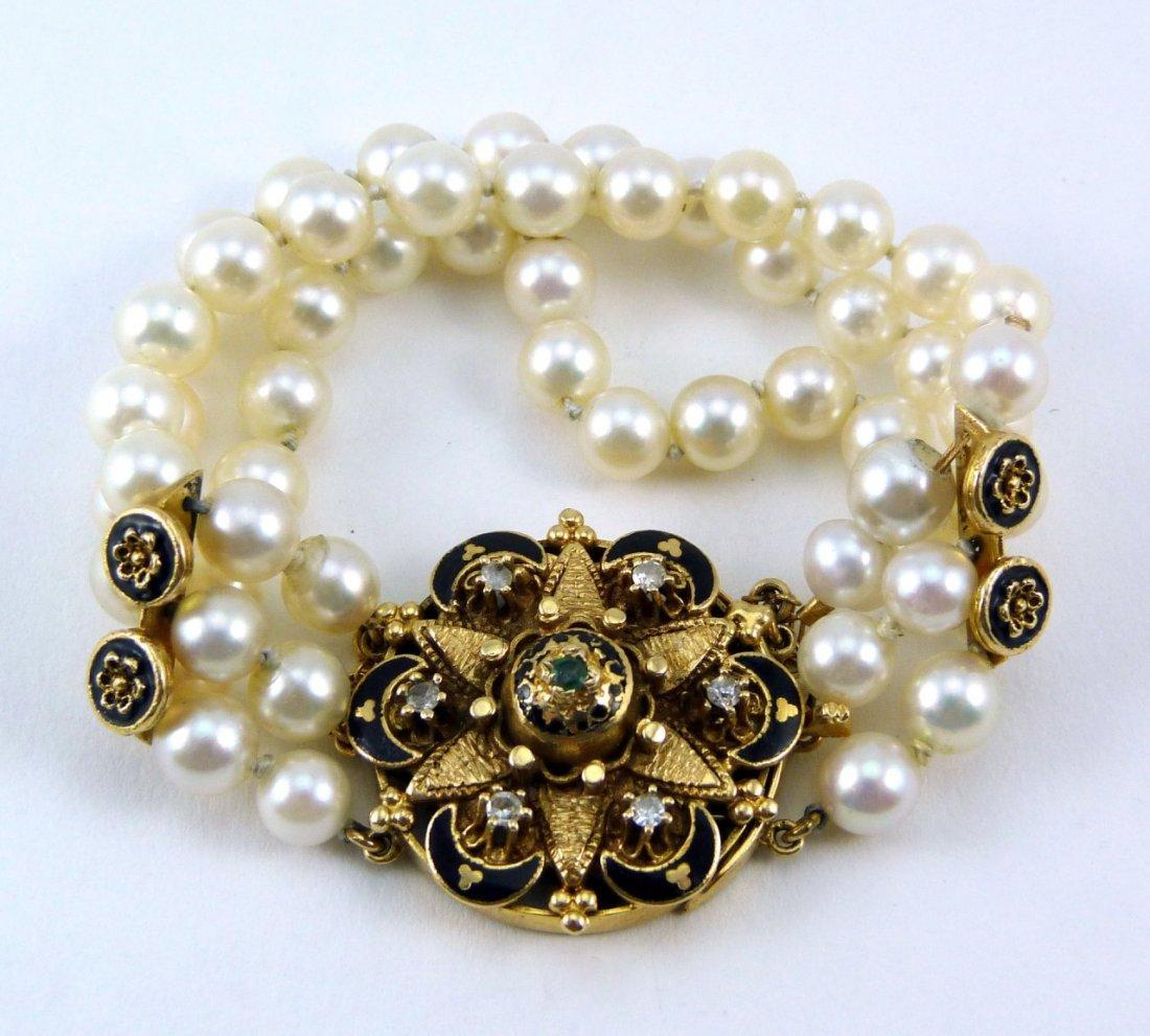 14kt YELLOW GOLD DIAMOND & PEARL BRACELET