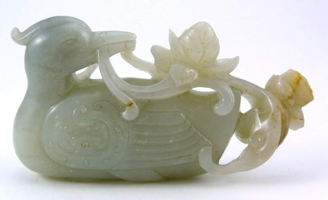 CHINESE CARVED WHITE JADE DUCK w LOTUS