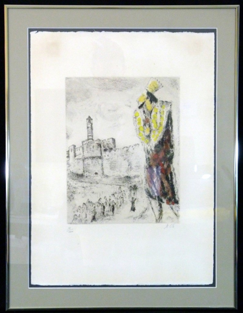 MARC CHAGALL KING DAVID HAND COLORED ETCHING
