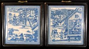 PR CHINESE CRACKLE BLUE & WHITE PORCELAIN PLAQUES