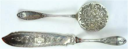 2pc TIFFANY  CO STERLING SILVER SERVING PIECES