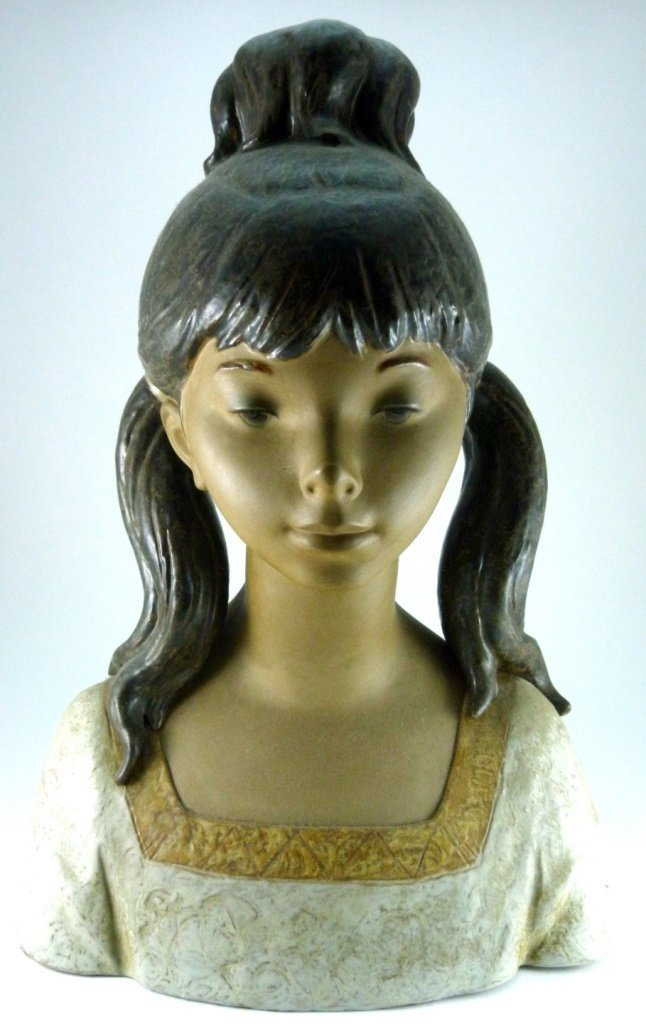 LARGE LLADRO PORCELAIN GRES BUST OF GIRL