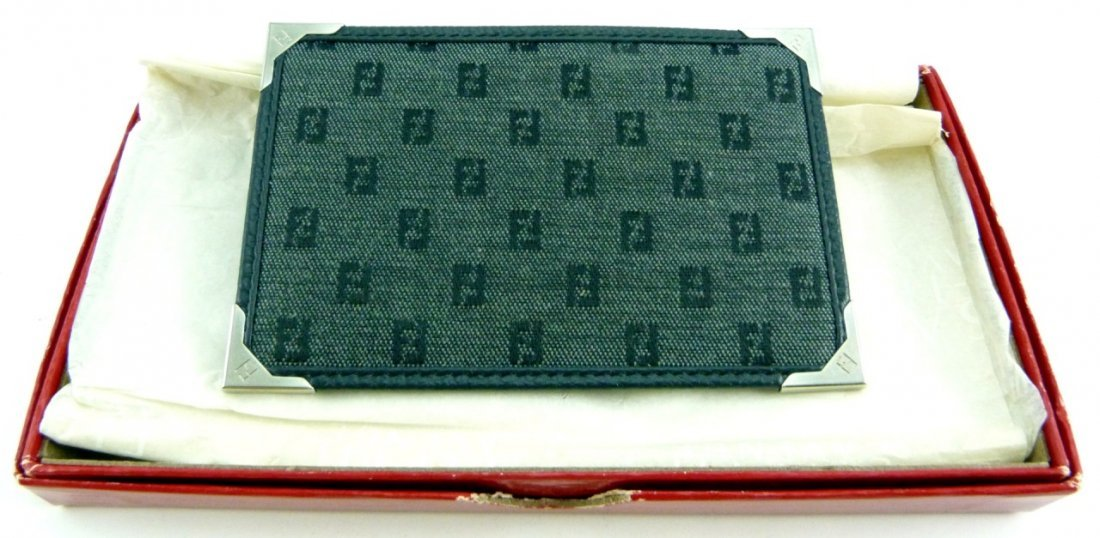 FENDI LEATHER AND CANVAS CARD CASE w BOX