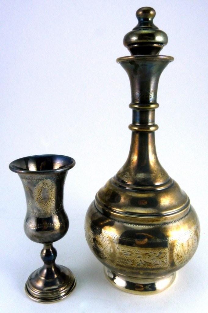 7pc STERLING SILVER JUDAICA DECANTER SET - 10