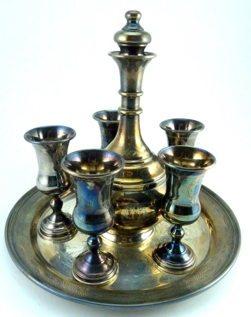 7pc STERLING SILVER JUDAICA DECANTER SET