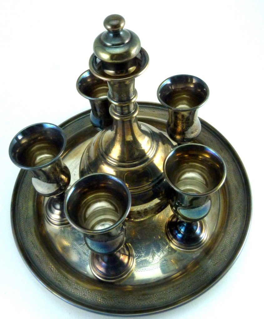 7pc STERLING SILVER JUDAICA DECANTER SET - 2