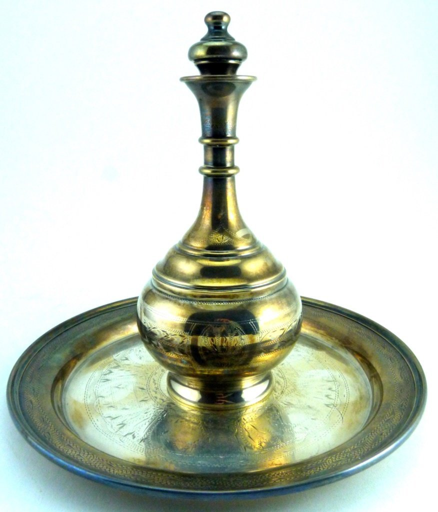 7pc STERLING SILVER JUDAICA DECANTER SET - 3