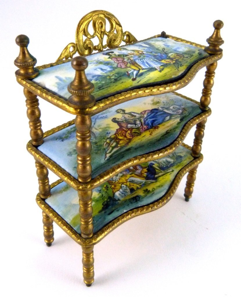 AUSTRIAN ENAMELED ORMOLU MINIATURE FURNITURE SHELF