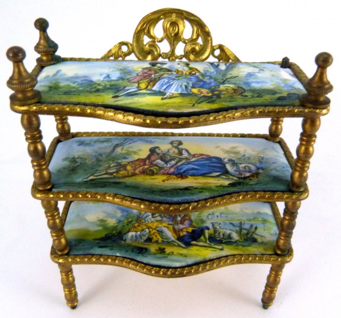 AUSTRIAN ENAMELED ORMOLU MINIATURE FURNITURE SHELF - 2