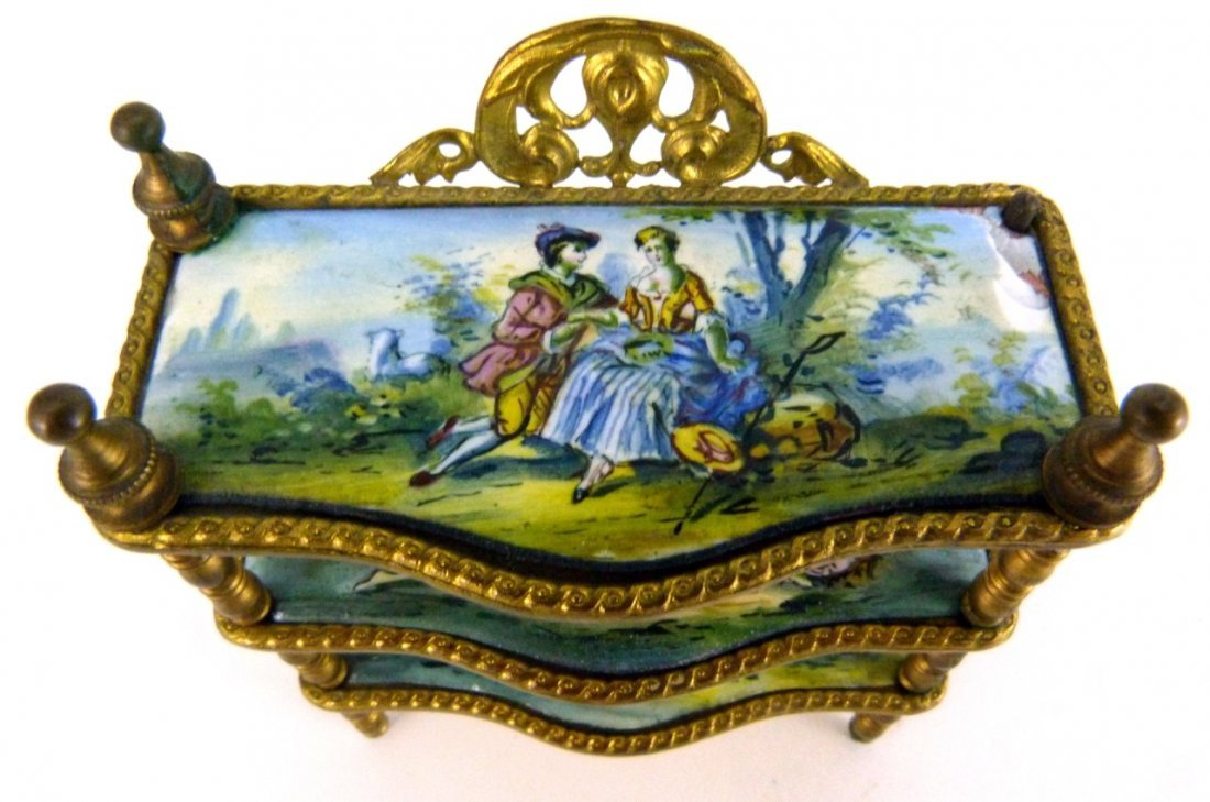 AUSTRIAN ENAMELED ORMOLU MINIATURE FURNITURE SHELF - 3