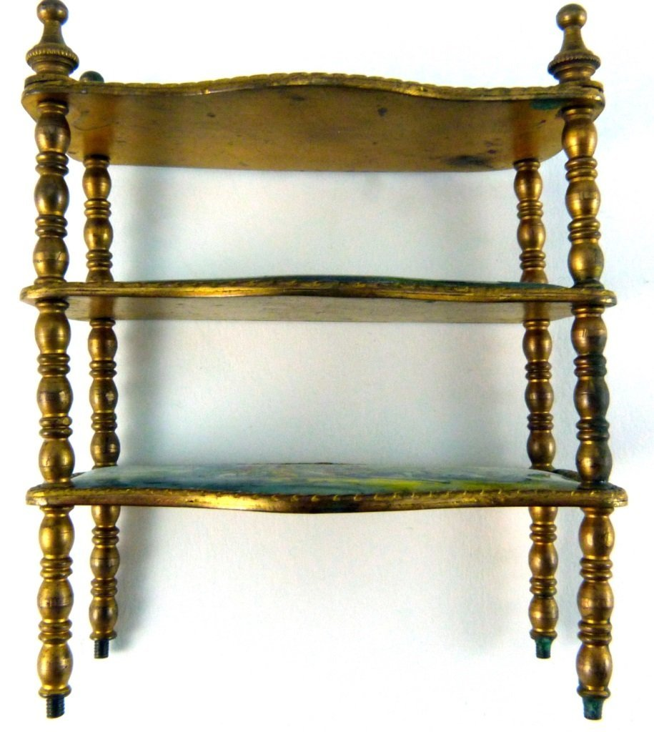 AUSTRIAN ENAMELED ORMOLU MINIATURE FURNITURE SHELF - 6