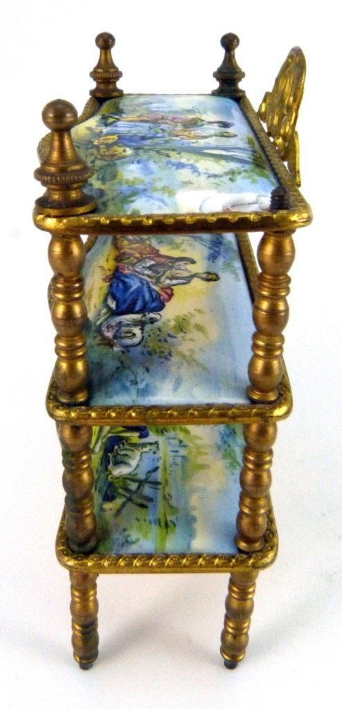 AUSTRIAN ENAMELED ORMOLU MINIATURE FURNITURE SHELF - 7
