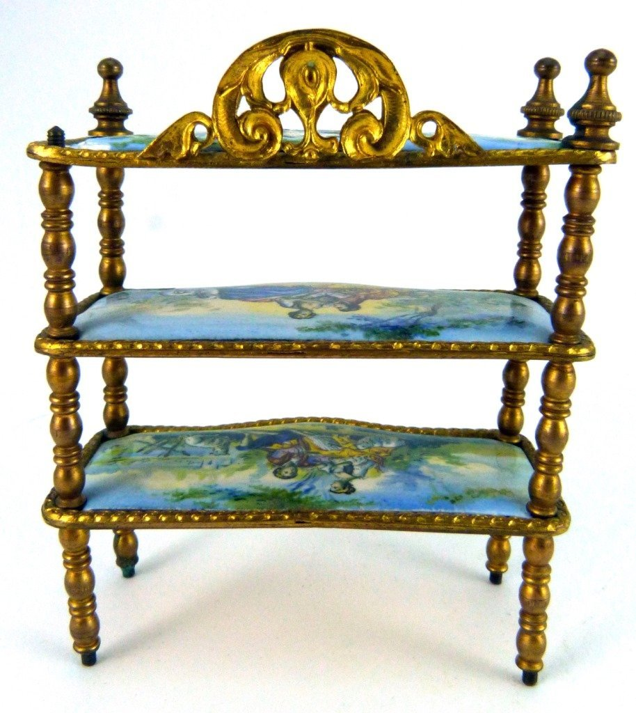 AUSTRIAN ENAMELED ORMOLU MINIATURE FURNITURE SHELF - 8