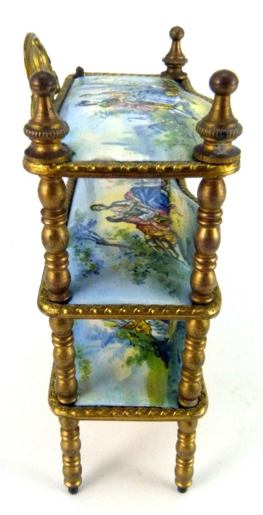 AUSTRIAN ENAMELED ORMOLU MINIATURE FURNITURE SHELF - 9