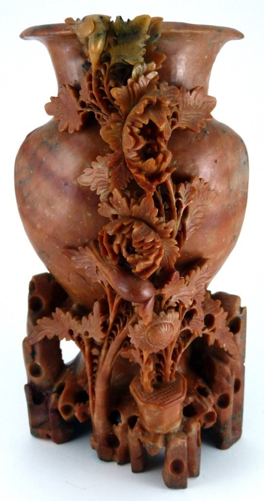 CHINESE CARVED RED SOAPSTONE FLORAL VESSEL