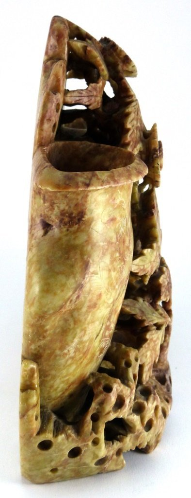 CHINESE CARVED SOAPSTONE DOUBLE VASE - 4