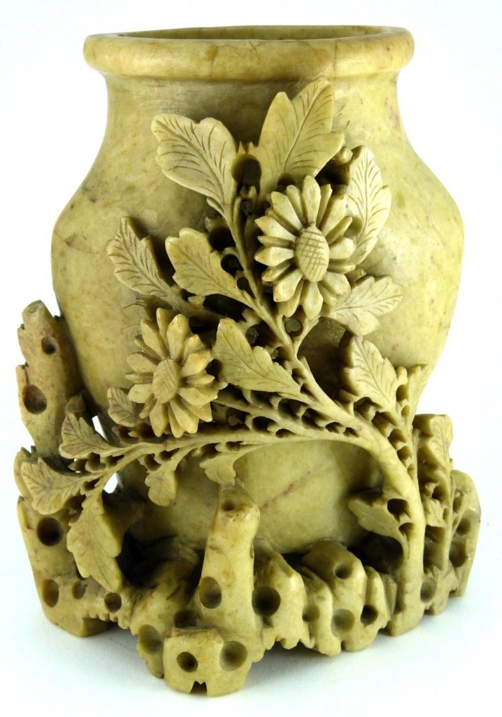 CHINESE CARVED YELLOW SOAPSTONE FLORAL VESSEL