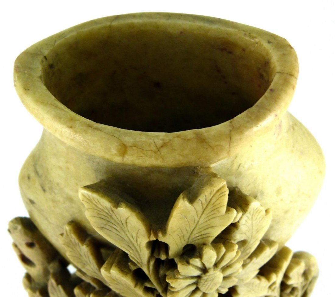 CHINESE CARVED YELLOW SOAPSTONE FLORAL VESSEL - 5