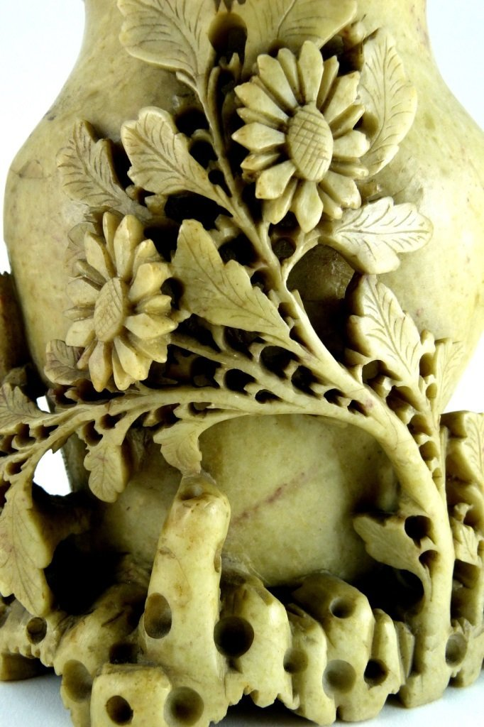 CHINESE CARVED YELLOW SOAPSTONE FLORAL VESSEL - 7