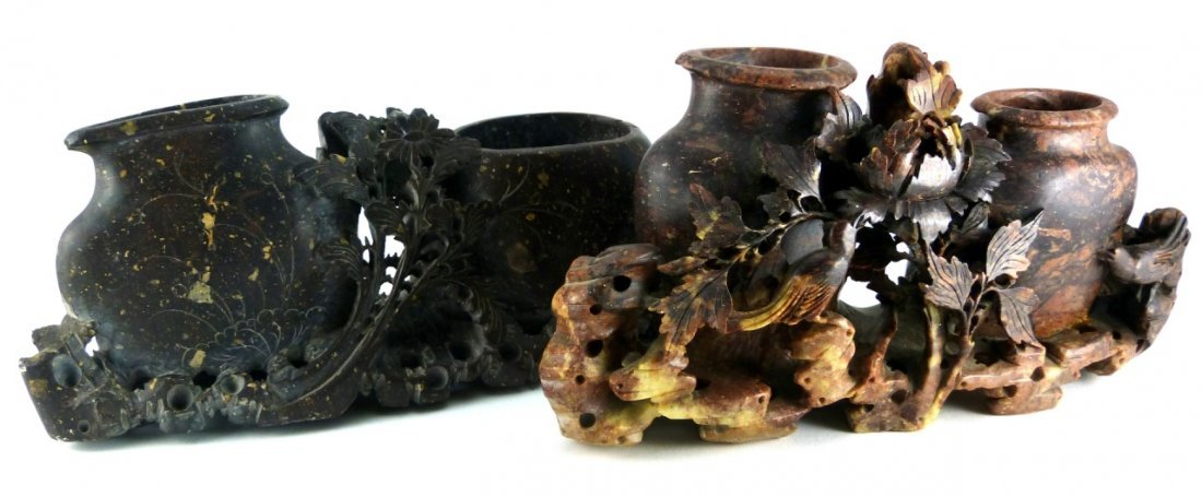 2pc CHINESE CARVED SOAPSTONE DOUBLE VESSELS